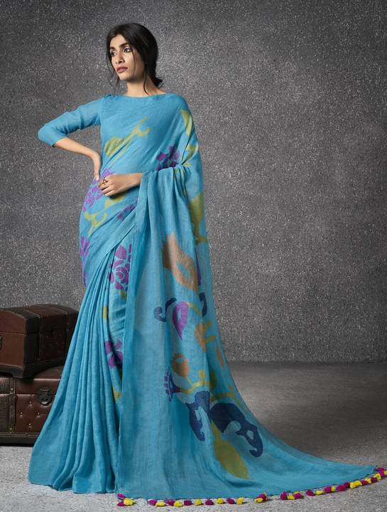 91622fb583215d The sarees are a rich rhapsody of colors and have exquisite zari and kadwa  booto motif work. Shop these gorgeous handwoven Linen sarees online to  restyle ...